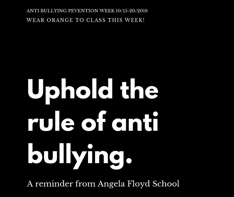 Awareness Week:  Bullying Prevention Week