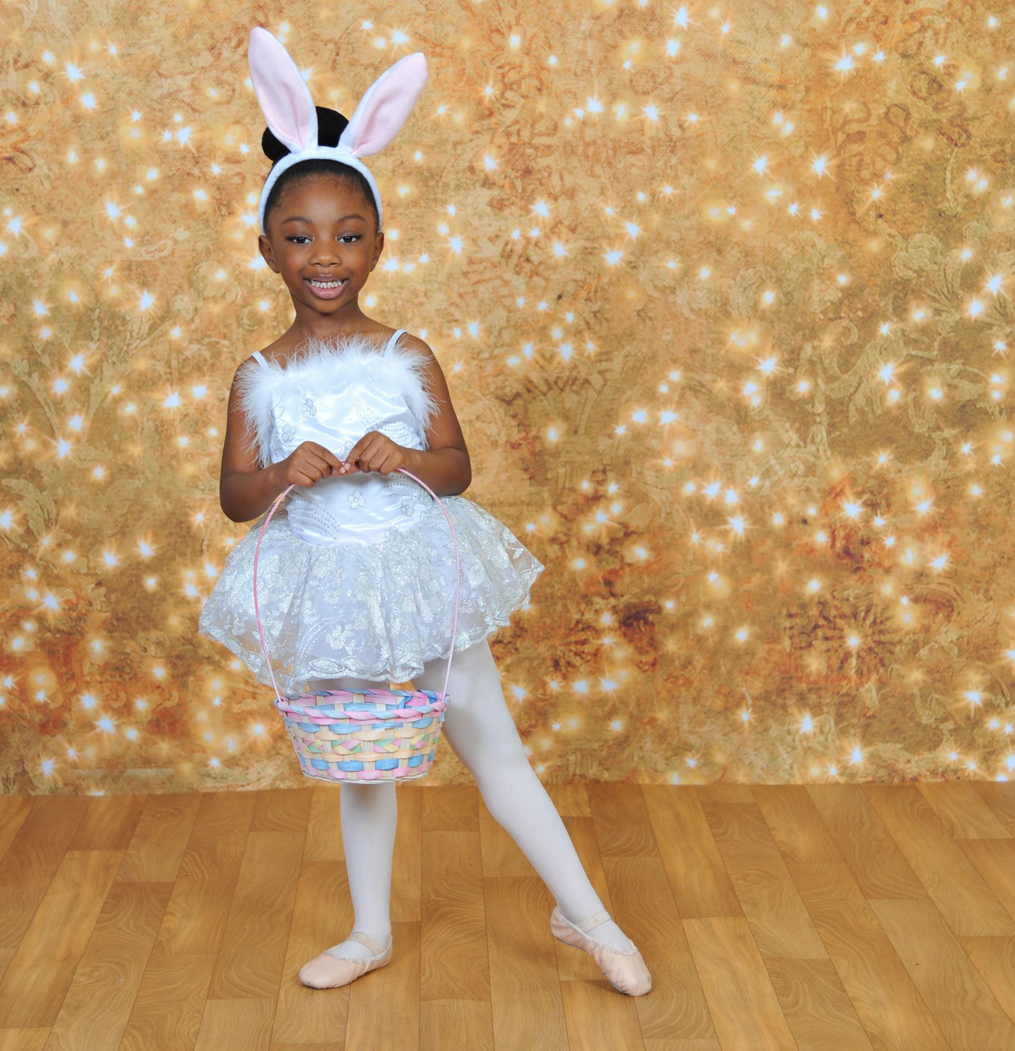 girl in bunny ballet outfit