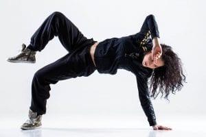 Girl doing complicated dance move