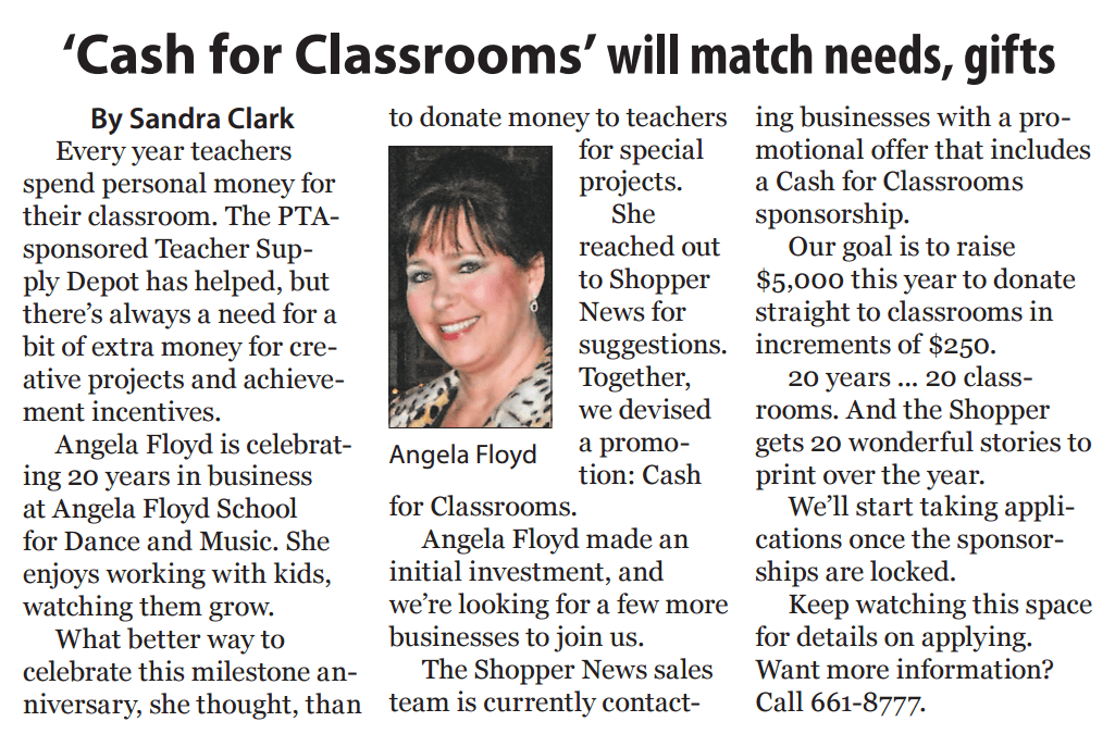 Cash For Classrooms – Giving Back to the Community
