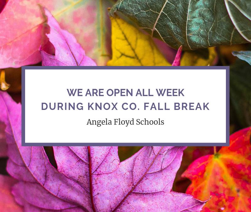 We are OPEN Fall Break!