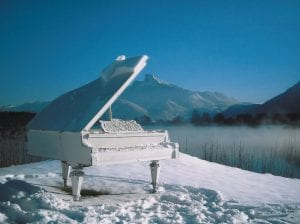 piano in the snow