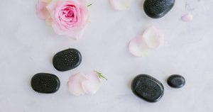 spa rocks and flowers